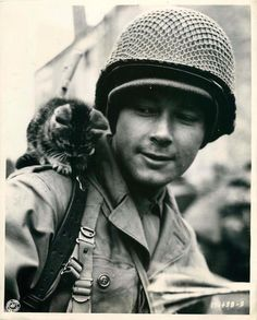 """1944- U.S. soldier with his kitten mascot """"Butch"""" in Stolberg, Germany."""
