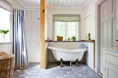 vintage tub- shower at floor level- pretty blue tile flooring Blue Tile Floor, House, Interior, House Interior, Bathroom, Vintage Tub, Home Interior Design, Interior Design, Blue Tiles