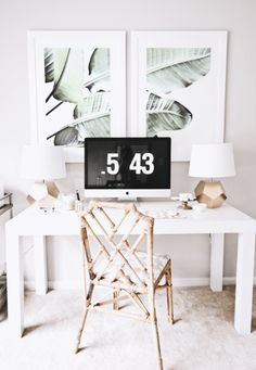 Office space goals- love those palm prints! Home | Office