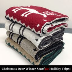 Christmas Deer Knitted Winter Scarf for Christmas Gifts & Trips! (Double Sided)