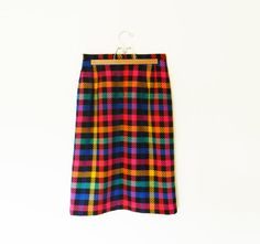 Vintage Rainbow Pencil Skirt / Bold Neon Pencil Skirt / Rainbow Buffalo Plaid Wiggle Skirt / Vintage High Waisted Skirt
