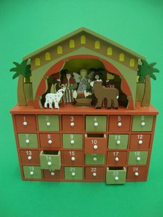 Wooden Christmas Nativity Advent Calendar - Drawers Open For Sweets Or Gifts   eBay