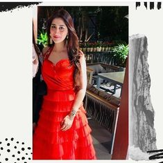 @mamta_malik_kukreja looking super beautifull wearing #labelnikhita couture dress curated with satin drapes and net frills. #eveningdress #couturedress #clientcumfriend #reddress #winterdresses