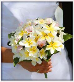 Tropical yellow plumeria bouquet