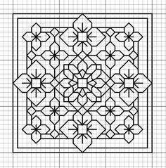 Blackwork - A good pattern if you only want to carry around a little. Motifs Blackwork, Blackwork Cross Stitch, Blackwork Embroidery, Paper Embroidery, Cross Stitching, Cross Stitch Embroidery, Embroidery Patterns, Geometric Embroidery, Folk Embroidery