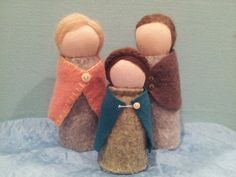 Wool Felt Waldorf table puppet doll family by Noomina on Etsy, $45.00