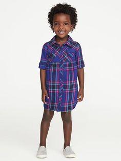 Old Navy Plaid Shirt Dress for Toddler Girls