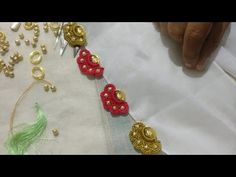 New flower design using oval beads(kannada version) Saree Tassels Designs, Saree Kuchu Designs, Kolam Designs, Crochet Edgings, Chrochet, Crochet Stitches, Embroidery Stitches, Kali Mata, Diy Crafts Videos