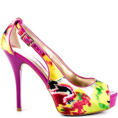 Hondola heels Yellow Multi Satin brand heels Guess Shoes