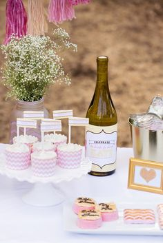 bridal shower cupcakes and personalized wine bottles gold frame