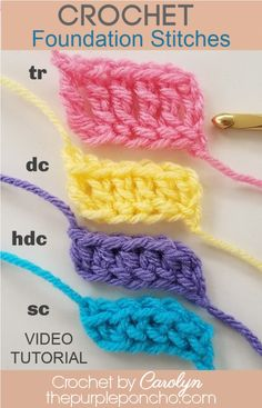 Different Crochet Stitches, Easy Crochet Stitches, Crochet Stitches For Beginners, Crochet Basics, Crochet Videos, Crochet Blanket Patterns, Crochet Hooks, Easy Knitting, Beginner Crochet Patterns