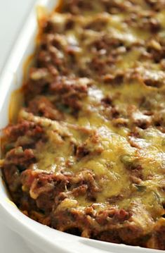 This Million Dollar Casserole tastes just as rich as it sounds. This spaghetti casserole recipe includes cream cheese, ground beef, spaghetti sauce, sour cream and cheese to give it that creamy, flavorful taste. Beef Casserole Recipes, Ground Beef Casserole, Hamburger Casserole, Hamburger Dishes, Hamburger Meat Recipes Easy, Beef Meals, Freezer Meals, Spaghetti Casserole, Spaghetti Sauce