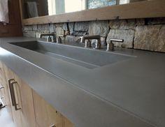 "48"" rectangle concrete sink by Trueform Concrete - Custom Concrete vanity top."