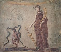 https://flic.kr/p/omBS3t | Fresco from a corridor leading to a latrine with Isis protecting a man relieving himself and the words Cacator cave malum (Shitter beware the evil eye), Naples Archaeological Museum