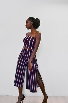 **Comes with a free bandeau**   These side slit culottes take on a relaxed silhouette for the new season, with sports tailoring setting the trends right now wide leg pants are the one's to watch.Wear as a dramatic day time look or tone down with a crop top and go for an androgynous look with some trendy tekkies. Made in South Africa Androgynous Look, Day And Time, Stripe Print, Wide Leg Pants, South Africa, Silhouette, Autumn, Trends, Crop Tops