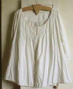 Ivory dress tunic cotton rustic size L lace  by GreenHouseGallery