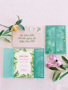 """Wedding Photography Hawaii - With a vision of """"a glamorous garden party with the nostalgia of Palm Springs,"""" this all-star team of creatives dreamt up this tropical bridal shower editorial we want to dive right into. Beach Wedding Invitations, Diy Invitations, Elegant Invitations, Wedding Stationery, Palm Springs, Garden Bridal Showers, Tropical Bridal Showers, Bridal Shower Ideas Spring, Garden Shower"""