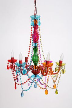 Gypsy Chandelier - Large.  From Urban Outfitters, but sold out.  I saw this just a few nights ago used in a children's playroom on one of the home decor shows and wondered where on earth they got it.  I'm personally not into such loud colors, but what fun and funk!