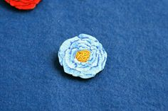 Flower poppy red pink blue plant badge brooch pin wooden wood painted gift present idea