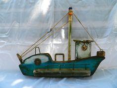 june-3 Twig Art, Boat Crafts, Seaside Decor, Boat Art, Wood Boats, Driftwood Crafts, Wooden Ship, Ceramic Houses, Nautical Art