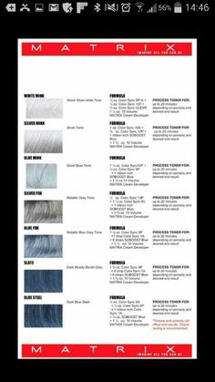 Hair color grey formulas matrix