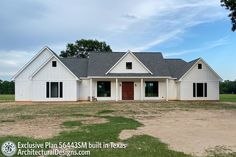 Plan 56443SM: Exclusive Modern Farmhouse With Split Beds And Ample Outdoor Living Space Gas Fireplace Logs, Gas Logs, Architectural Design House Plans, Architecture Design, Brick Shelves, Modern Farmhouse Plans, Texas Farmhouse, Farmhouse Master Bedroom, New House Plans