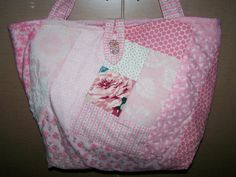Pink Chenille Patchwork Strips Quilted Handbag Tote Bag | eBay