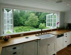 Ways to Give Your Kitchen a Deep Clean When I move to the country, I'm incorporating these windows into my dream home design.When I move to the country, I'm incorporating these windows into my dream home design. New Kitchen, Kitchen Dining, Kitchen Decor, Awesome Kitchen, Eclectic Kitchen, Kitchen Layout, Kitchen Country, Long Kitchen, Kitchen Island
