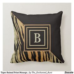 Tiger Animal Print Monogram Throw Pillow.  This cool tiger animal print throw pillow is great for finishing off any living space. Great for living rooms, bedrooms, home offices, and more! Customize this pillow with your monogram initial. #throwpillows #homedecor #animaldesign #decorativethrowpillow #animalsprint #animalpattern #monogramideas