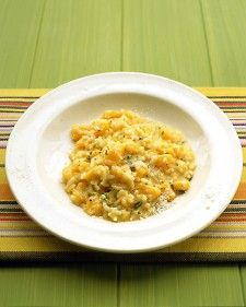 MarthaStewart |  Butternut Squash Risotto  | Rather than adding the squash at the end, we cooked it with the Arborio rice; the squash softens during cooking and makes the dish sweeter.