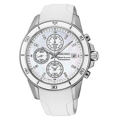 Seiko SNDX57 38mm Stainless Steel Case White Rubber Anti-Reflective Sapphire Women's Watch -- You can get more details by clicking on the image.