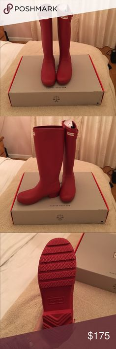 Military red Hunter rain boots Brand new, never worn, with dust bag and box included original tour rain boots in military red by Hunter. These were a gift and it did not come with a gift receipt so I cannot exchange them into the color I want (black). So that is why I am selling so I can get the color I actually want. If you have any questions please let me know. I can also email more pictures as per request 😊 btw no trades or price negotiations. Thank you! Hunter Boots Shoes Winter & Rain…