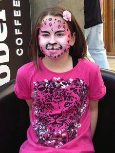 Pink leopard face painting to match her t-shirt! At Papamoa, Tauranga, NZ. Leopard Face Paint, Pink Leopard, Carnival, Creative, Shirt, Painting, Dress Shirt, Carnavals, Painting Art