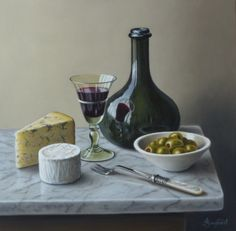 "Wine Cheese and Olives  12""x12""    Sold"
