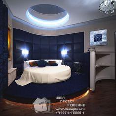 Синяя спальня с круглой кроватью
