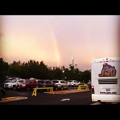 A JMU sports team ready to board the bus and follow the rainbow. (courtesy Andrew Brecher)