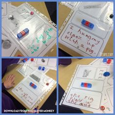 Using frames from You Clever Monkey, the children read the word, made it and wrote a sentence containing it. Phase 4 Phonics, First Grade Phonics, Writing Station, Writing Area, Primary Teaching, Teaching Phonics, Phonics Activities, Writing Activities, Communication And Language Eyfs
