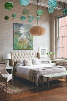 This bedroom! Neutrals are great but I don't get the pops of greens via Designed For Life.