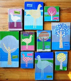 painted wood plaques with paper images mod podged on--want  to use when I decorate a girly room soon