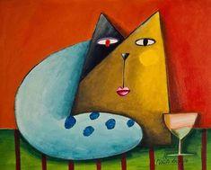 Gato amarelo azul e preto com taça - Gustavo Rosa