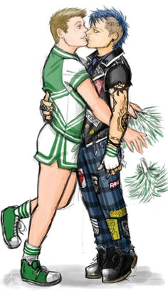 dean as a cheerleader and castiel as a punk - inspired by all the fic and other art of them like this that i've seen.dean and punk! Supernatural Cartoon, Supernatural Destiel, Castiel, Decimo Doctor, Destiel Fanart, Dc Characters, Punk Art, Couple Art, Gay Art