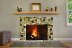 Recycled Glass Fireplace Surround - eclectic - living room - seattle - by Tristan Gary Designs Glass Tile Fireplace, Fireplace Tile Surround, Stone Mantel, Wood Mantle, Fireplace Surrounds, Fireplace Mantels, Fireplaces, Eclectic Living Room, Living Room Designs