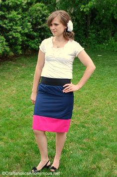How to Sew a Color Block Skirt! A fun way to add a pop of color :) @Linda Gardner