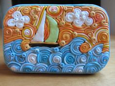 Polymer Filigree Tin Sailboat Box