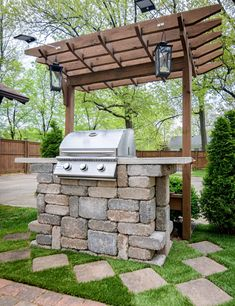 Building an outdoor living space can be intimidating. Check out this gallery of hardscape features to inspire your future backyard oasis. Outdoor Oven, Outdoor Kitchen Design, Outdoor Grilling, Backyard Kitchen, Outdoor Kitchens, Backyard Patio, Backyard Landscaping, Landscaping Ideas, Outdoor Grill Station