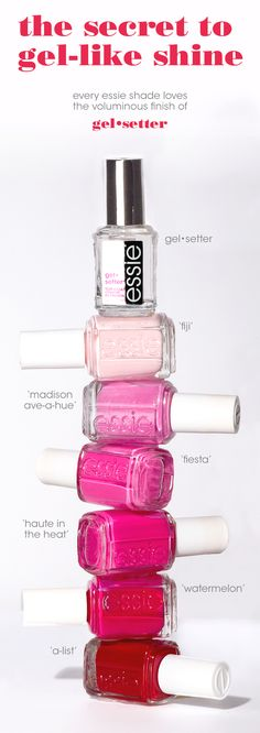 Every essie shade loves a gel•setter finish. Just one coat gives you top notch gel-like shine.   Featured here: creamy pastel pink 'fiji,' shimmery bright pink 'madison ave-hue,' raspberry pink 'haute in the heat,' hot pink 'fiesta,' juicy red 'watermelon,' classic red 'a-list'