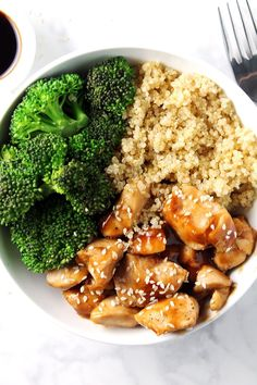 Chicken Teriyaki Quinoa Bowl -- a quick, easy, and healthy recipe for lunch or dinner! Plus, it's so easy to mix up with different vegetables, proteins, etc. Enjoy! :)