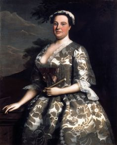 Robert Feke, Portrait of Mrs Charles Willing, signed and dated 1746 (Henry Francis du Pont Winterthur Museum), Natalie Rothstein: Anna Maria Garthwaite silk design dated 1743 V) 18th Century Dress, 18th Century Costume, 18th Century Fashion, Early American, American Women, Era Georgiana, Anna Maria Garthwaite, Rococo Fashion, French Fashion