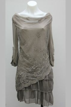 Taupe Silk & Viscose Dress w/ Embroidered Flowers