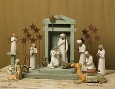 """This+hand+painted+Willow+Tree+Nativity+Set+is+beautifully+framed+by+the+unique+Creche+and+companion+pieces.+Purchase+this+complete+Willow+Tree+Nativity+set+and+save+over+$100+off+the+regular+price.+Sorry,+we+are+unable+to+offer+gift+wrapping+on+Nativity+Sets.Add+'The+Little+Sheperdess""""+for+a+reduced+price+of+$19.99(reg.+price+$26.99)Set+Includes:Original+Nativity+pieces"""